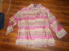 Elements Sheer Button Dow Dress Shirt Size XL Large Pink Beige Stripes NEW NWT