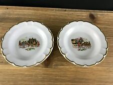 """Lot Of 2 Porcelain Limoges France Trinket/Pin 4.5"""" Dish Horse And Carriage Gl"""
