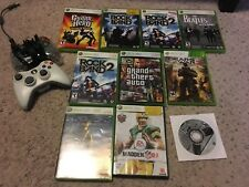Xbox 360  Rockband, Guitar Hero, and other games lot and 2 controllers!