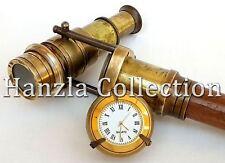 Vintage Clock Top Wooden Walking Stick With Hidden Spy Antique Brass Telescope