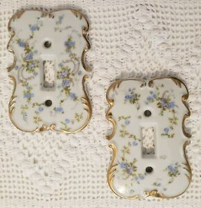 Vintage 1960's Porcelain Ceramic Blue Floral Light Switch Plates Set Of 2