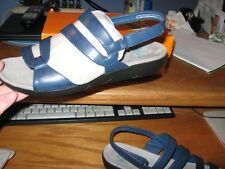 WOMENS YUU SANDALS SIZE 9.5 WIDE NAVY BLUE SLIDES JANNE RETAIL $54.00 NEW W/BOX