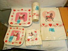 vintage Party Maid Valentine Paper Plates, Table Cover & Napkins Set Sealed Nos
