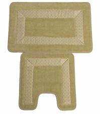 Trellis Border 2 piece Non Slip Super Absorbent Pedestal and Bath Mat Set Cream