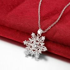 Silver Blue Turquoise Stones Snowflake Pendant Chain Necklace