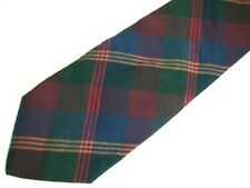 "Bass Mens Necktie Tie Navy Blue Red Green Yellow Plaid 100% Cotton 59"""
