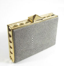 $228 BCBG MAX AZRIA Janis Stingray Embossed Leather Pyramid Box Frame Clutch Bag