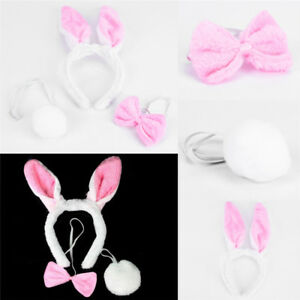 Lovely Girls Rabbit Bunny Ears Headband Tail Necktie Birthday Party Cost.zb
