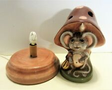 Vintage Hand Painted Ceramic Mouse under Toadstool Night Light 1973 Gare Mold