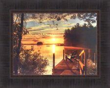 FIRE WATER by Lori Deiter 17x21 FRAMED PRINT Sunset Lake Dock Sunrise Chair HCD