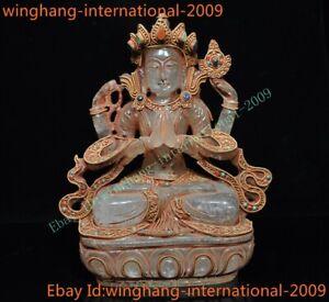 Crystal silver Filigree 24k gold inlay gem 4 Arms Chenrezig tara Kwan-Yin statue