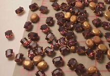 25 Vintage Amethyst Glass Oval Rhinestones With Brass Settings Czech 8mm x 6mm
