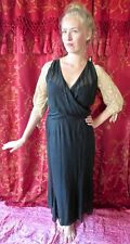 Authentic 1920s Black Silk Wrap Waist Deco Flapper Dress With Tambour Lace
