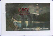 TRAIN ON STONE BRIDGE,PEOPLE FISHING IN SILVER LAKE-EAST LIBERTY,PITTSBURGH,PA
