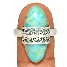 Genuine Larimar - Dominican Republic 925 Silver Ring Jewelry s.8.5 AR218151 148Y