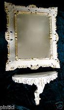 Set Wandspiegel+Wandkonsole Weiß-Gold Barock 45x37 Spiegel mit Konsole AbLAGE