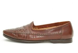 Santoni Mens Brown Woven Leather Loafers Shoes Size 10.5