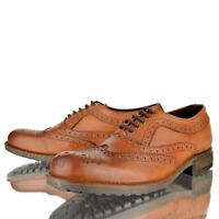 MENS REAL LEATHER LACE UP SMART CASUAL WORK OFFICE PARTY TAN BROGUE SHOES SIZE