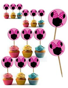 Minnie Mouse Cupcake Toppers Generic Double Sided Image Wooden Picks- 24pcs