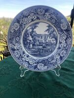 "Wedgwood Pomona College Patio of Hardwood Court 10 3/4"" Dinner Plate Blue"