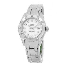 ROLEX Lady 18K White Gold Pearlmaster Masterpiece Factory Diamonds  # 80319 Box