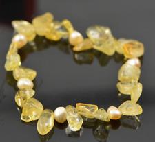 Citrine Bracelet, Gemstone bracelet,Handmade, Pearl,Natural gemstone, Gift