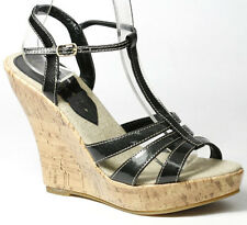 Black Patent Ankle Strap Cork Heel Platform Wedge Women Shoes 7.5 us Classified