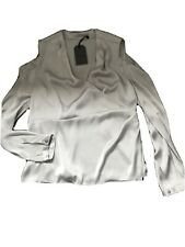 All Saints 14 Danio Grey cold Shoulder Wrap Top Blouse Shirt