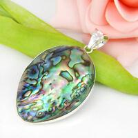 Huge Handmade Natural Abalone Shell Gemstone Vintage Silver Necklace Pendant