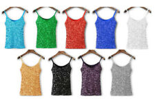 Women's Sequin Sleeveless Cami Tank Top One Size New