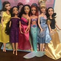 Disney Princess Barbie Lot Snow White Cinderella Ariel Belle Jasmine Mulan +tote
