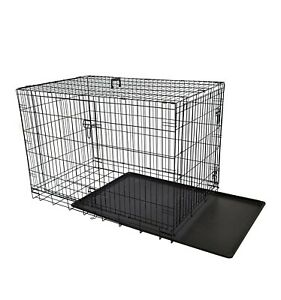 36-inch(XL) Double Doors Metal Dog Crate Two Door Folding Dog Kennel Cage...