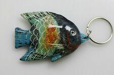 Vintage enamel wood painted fish tropical key ring chain
