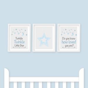 Nursery Prints - Twinkle Twinkle Little Star, Blue, Baby Boy or Girl, Kids Room
