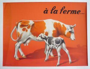 """Dessin original de Dupuich pour l'album """"A la ferme"""" : Vache et veau"""