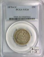 "1878-CC Seated Liberty Quarter PCGS VF-20; Briggs 1-A, ""Cancelled Obverse"""