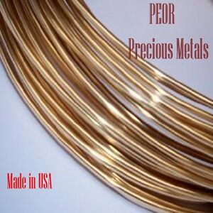 18K Solid Yellow Gold Round Wire, 20 Gauge, 1 Foot , Half Hard, Made in USA