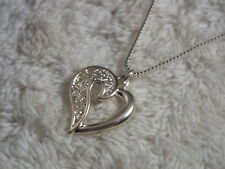 Sterling Silver Box Chain Filigree Heart Pendant Necklace (D11)