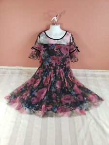 Girls JUSTICE Black Pink Blue Floral Sheer Mesh Velvet Bows Bell Sleeve Dress 10