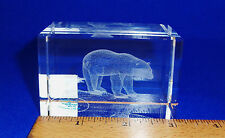 IMAGE 3 CRYSTAL BLOCK BY JAFFA WITH 3D LASER INNER IMAGE - POLAR BEAR ON ICE