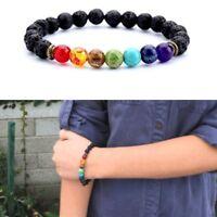 Natural Lava Stone Diffuser Bracelet 7 Chakra Healing Bracelet Jewelry Beaded