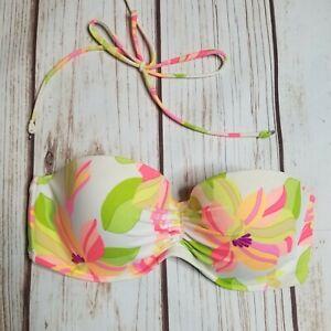 Victoria's Secret 36C Swim Bikini Bandeau Floral Strapless Top Underwire