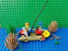 LEGO Custom Minifig x1 Fisherman Boat Fish Rod Oar Bait Rubber Ducky Chain City