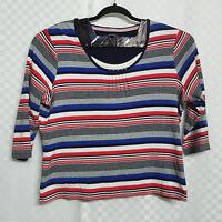 Ladies MAINE DEBENHAMS Top Size 20 Multicolour Striped Cotton 3/4 Sleeves Warm