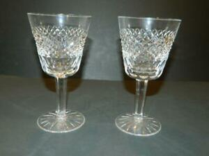 """2 Waterford England """"Tara"""" Pattern Crystal 5 7/8"""" Claret Wine Glasses (A)"""