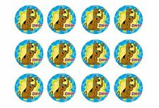 """SCOOBY DOO CUPCAKE TOPPERS 12 x 2"""" CIRCLES EDIBLE ICING PARTY DECORATION IMAGE"""