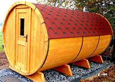 SAUNAFASS Fasssauna 3,5m Vorraum,Komplett aufgebaut mit Holzofen. AußenSauna.