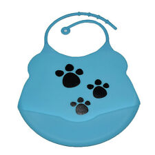 Blue Paws Bib Waterproof Baby Toddler Dribble Bibs Soft & Foldable Silicone