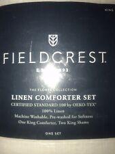 New/King-Fieldcrest Linen 3 Piece Comforter Set with Shams