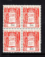 Nsw: 1966 Stamp Duty 3c Muh Block Of 4. .